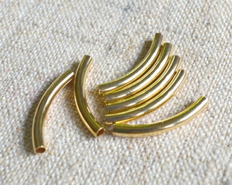 10pcs 26x3mm Metal Beads Gold Plated Curved Tube