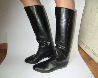 Genuine Leather boots True Vintage 70 's 80s K + s real boot black