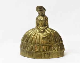 Vintage Brass Bell, Southern Belle Collectible Figurine Bell, Table Bell Hand Bell