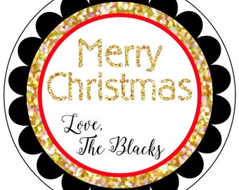 merry christmas stickers gold and black holiday stickers