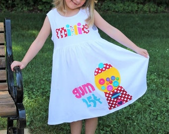Gumball Machine Dress for Girls, Sweet Gumball Dress, Bubble Gum Birthday Dress for Girls
