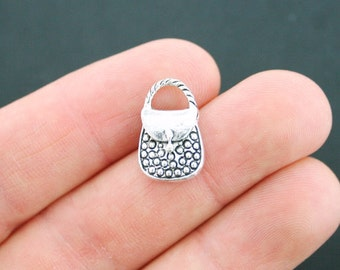 8 Purse Charms Antique Silver Tone 2 Sided Hand Bag - SC2263