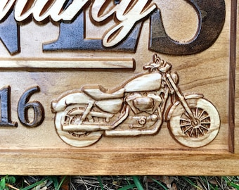 Personalized Motorcycle Art Wedding Gift Family Name Sign Custom Wood Sign Harley Motorcycle Wall Art Bar Sign Man Cave Decor Biker Couple