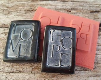 Rubber Stamps for Chalkboard Beads -- Hope and Love