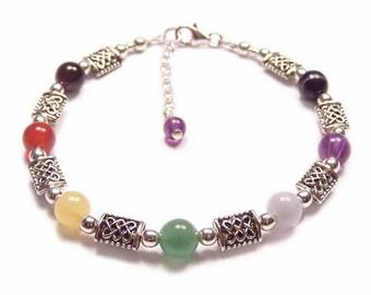 Sterling Silber Chakra Armband Edelstein keltische Knot Arbeit - Amethyst, Granat, Lapislazuli Regenbogen