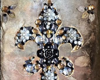 Handmade Jeweled Fleur de lis on Slate