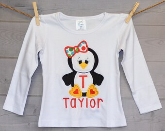 Christmas Penguin Applique Shirt or Onesie Boy or Girl Choose your color!