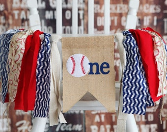 BASEBALL first birthday highchair banner ONE sports party red white and blue