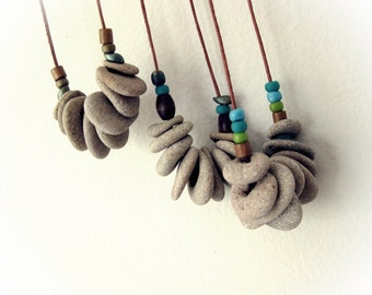One Natural drilled beach stones pebbles necklace - Beach Jewelry