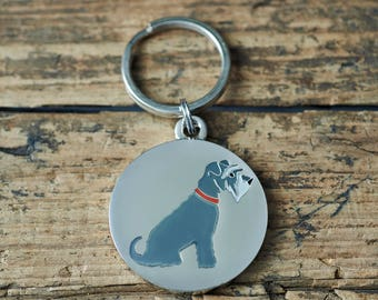 Grey Schnauzer dog tag / keyring