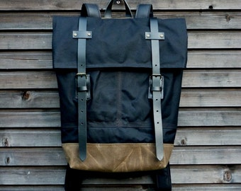 Waxed canvas rucksack/backpack with folded top and double waxed bottom UNISEX medium size