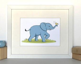 Baby Elephant with Little Yellow Bird // 8x10 Matted Nursery Wall Art // Childrens Art Print // Jungle Theme Nursery // Baby Room Decor