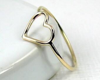 Solid Gold Heart Ring, 9 Karat Gold Ring, 18 Karat Gold Ring, Skinny Ring, Open Heart Ring, Slim Ring, Minimalist Ring
