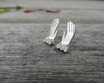 Tudor Hands Sterling Silver Earrings
