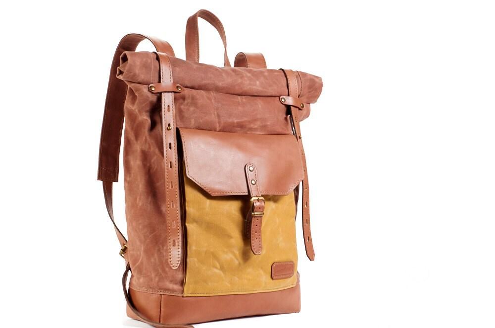 Waxed canvas backpack. Cappuccino backpack. Yellow waxed