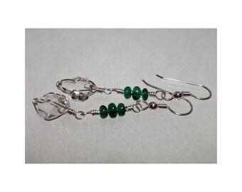 ww1370 - EMERALD & HERKIMER DIAMOND Wirewrap Earrings - Argentium Sterling Silver