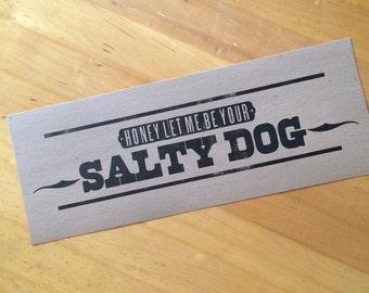 SALTY DOG poster hand printed letterpress bluegrass music cocktail wood type handset
