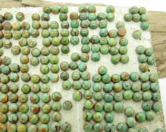 Natural Turquoise Cab, Green Turquoise Cabochon, Kingman Turquoise, Flat Back Cab, 4mm Turquoise Cab, American Turquoise 4mm (10)