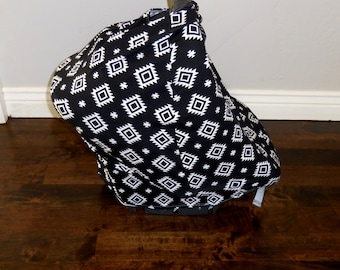 Black Aztec Knit Car Seat Canopy and Nursing Cover