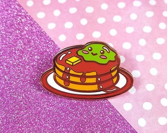 Slime pancake hard enamel rose gold plating glitter 4cm - hotcake cute kawaii lapel pin brooch badge flair collar pin