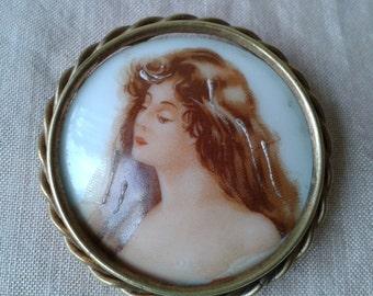 """Brooch """"Limoges"""" of time porcelain """"Art Déco"""""""