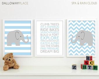 Baby Boy Art Chevron Elephant Nursery Decor, Subway Art Baby Boy Nursery Rules Playroom Rules Sign Family Rules Quote Safari Nursery Art