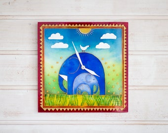 Wall clock ELEPHANTS, Stained glass clock, Unique wall clock, Nursery Decor, Stained glass windows, Children clock, Glass painting