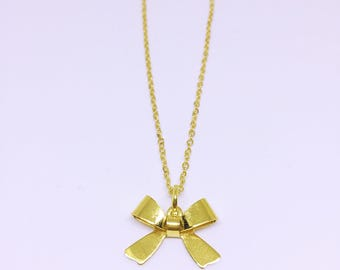 Gold Dainty Bow Necklace