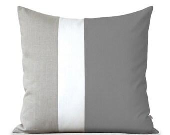 Minimal Color Block Pillow (20x20) Grey Cream and Natural Linen by JillianReneDecor Modern Home Decor Colorblock Striped Trio