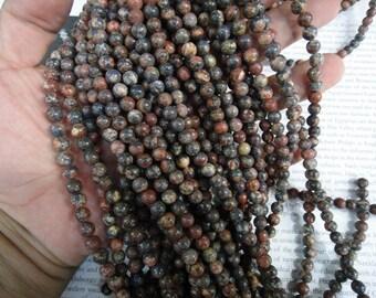 6mm leopard skin jasper round beads, 15.5 inch