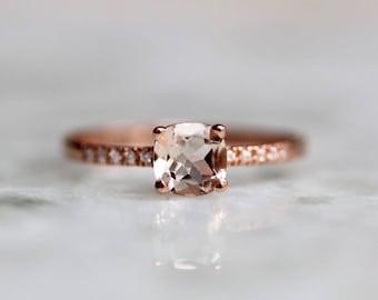 14K Cushion Morganite Ring, Pavé Morganite Ring, Flat band, Pink Stone, Engagement Ring, Blush