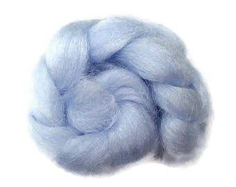 Firestar, sparkle, nylon hand dyed fiber for spinning, carding, art bats, felting, needle felting, paper making 0.5 oz, light blue
