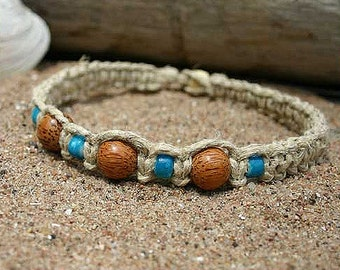 Surfer Phatty Thick Hemp Necklace With Wood and Glass Beads Choker