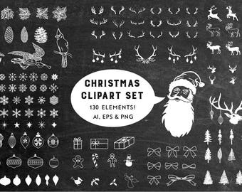 Christmas Clipart - Snowflake Clipart - Winter Clipart - Chalk Clipart - Chalkboard Clipart - Clip Art