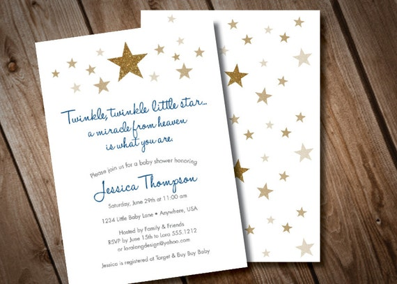 Twinkle twinkle little star baby shower invitation gold like this item filmwisefo Gallery