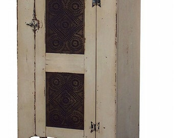 Pie safe farmhouse furniture painted distressed country rustic cabinet reproduction chimney cupboard colonial pine decor