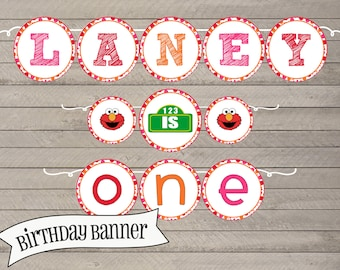 Elmo Inspired Birthday Banner