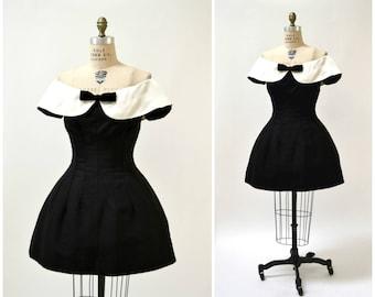 80s Prom Dress Small Medium Black White Large Collar Off Shoulder Crinoline skirt Saks Jenny Packham// Vintage 80s Does 50s Black Dress