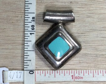 Vintage 925 Sterling Silver 16.7g Turquoise Slide Pendant Needs Cleaned Used