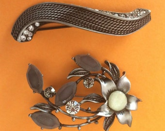 Two For One Cast Pewter and Rhinestone Brooches