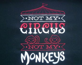 Monkeys Pillow Cushion Cover Embroidered Pillow Not my circus, not my monkeys