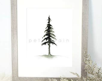 One Pine Tree (Watercolor Print)