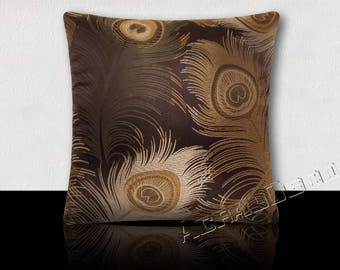 GIFT idea-cushion square large peacock feathers silver/bronze/green bronze on Brown background satin.