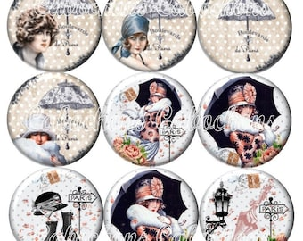 Set of 9 20mm glass cabochons, Lady of Paris, umbrella, vintage ZC232
