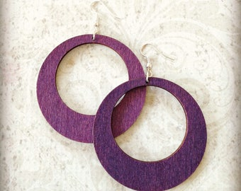 Large Purple Wood Hoop Earrings Boho Gypsy African Tichel Accessory Earrings Large Wooden Lightweight Earrings Ankara Wrap Accessory