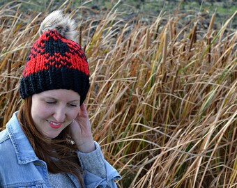 Knitted Plaid Hat, Fair Isle Hat, Chunky Knit Hat, Fair Isle Knitted Hat, PomPom Hat, Knit Beanie, Winter Hat, Chunky Knit Hat, Custom Order