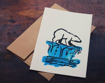 Polar Bear Greeting Card - Individually Hand Printed