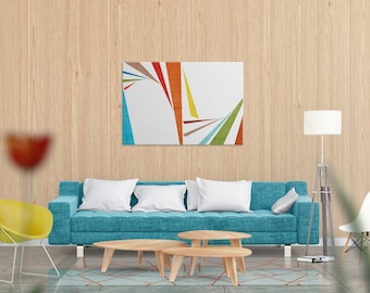 """Colorful art for home and office mid century modern art digital print large wall art minimal white and orange art modern canvas """"Slivers 2"""""""