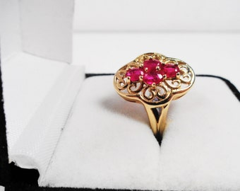 Ruby Ring.  Natural Rubies in a 10 kt. Gold Ring.