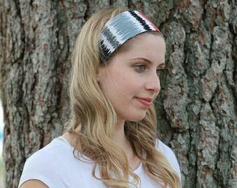 Fabric Headband / Fabric Head Bands / Wide Headbands / Wide Head Bands / Gray Headband / Gray Hairband / Gray Red Head Band / Gray Hair Band